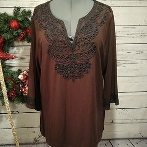Carole Little brown tunic top size 2x.